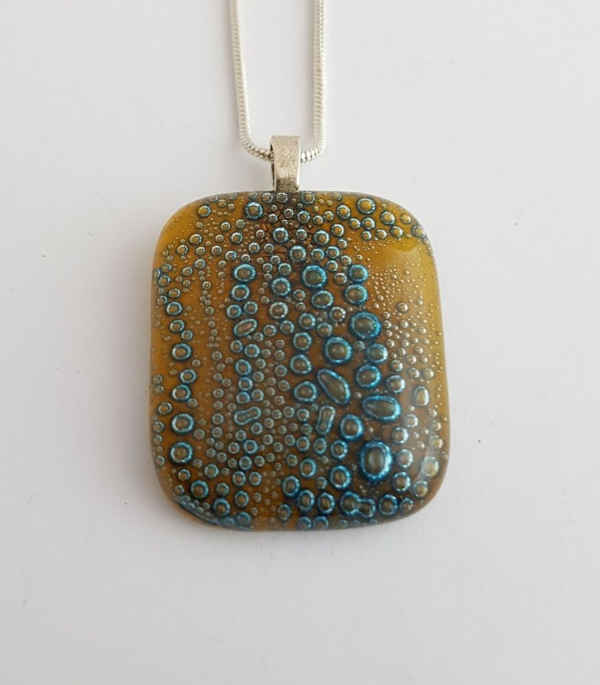 Bubbles - Amber yellow bubbles square pendant