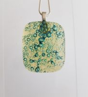 Bubbles - pale yellow bubbles square pendant