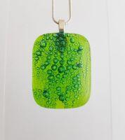 Bubbles - Lime green bubbles glass square pendant