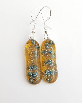 Bubbles - Amber yellow bubbles long drop earrings