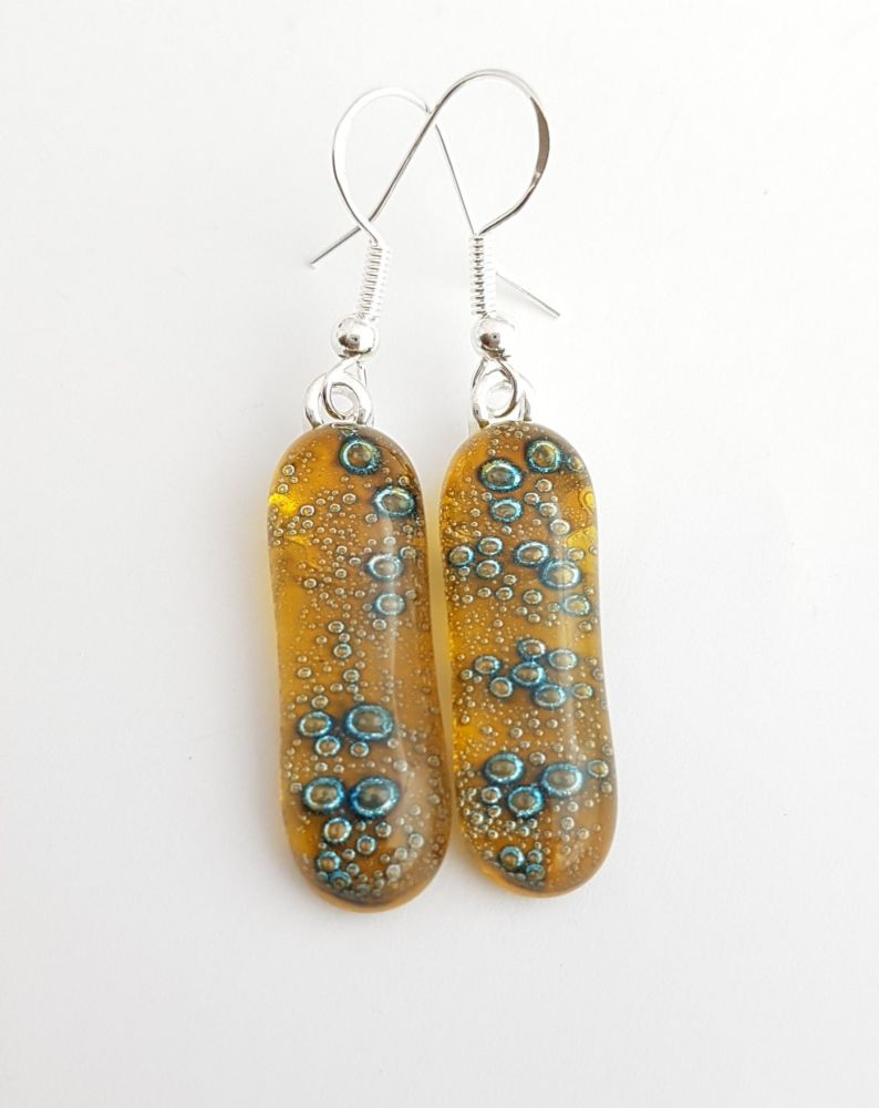 Bubbles - Amber yellow bubbles long drop earrings