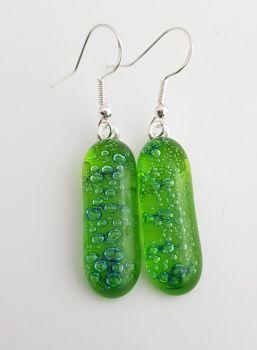 Bubbles - Lime green bubbles long drop earrings
