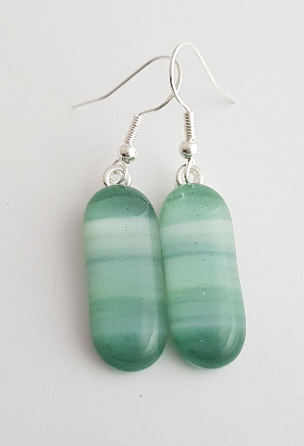 Swirly greens drop earrings