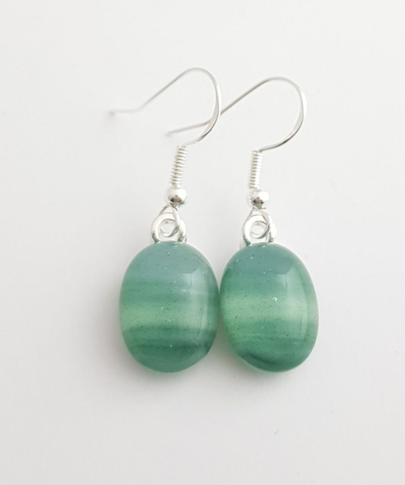 Swirly greens small drop earrings