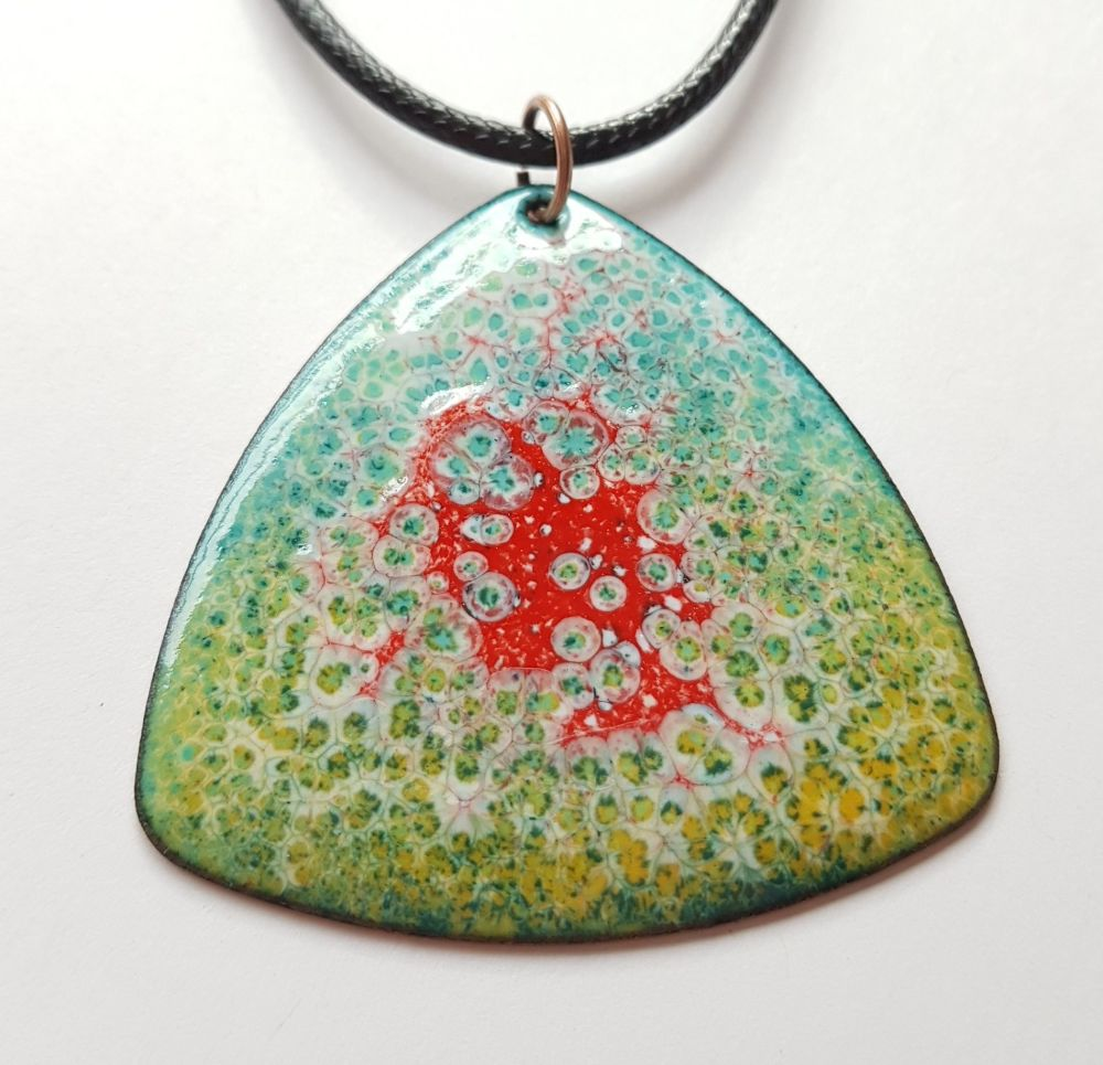 Pale blue with peach and poppy red speckles enamelled necklace