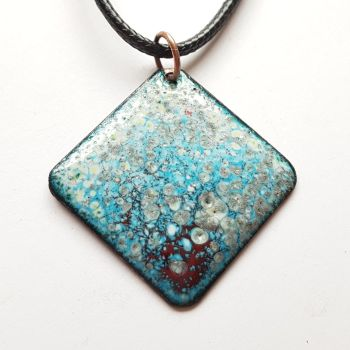 Turquoise blue with maroon red and silver speckle necklace