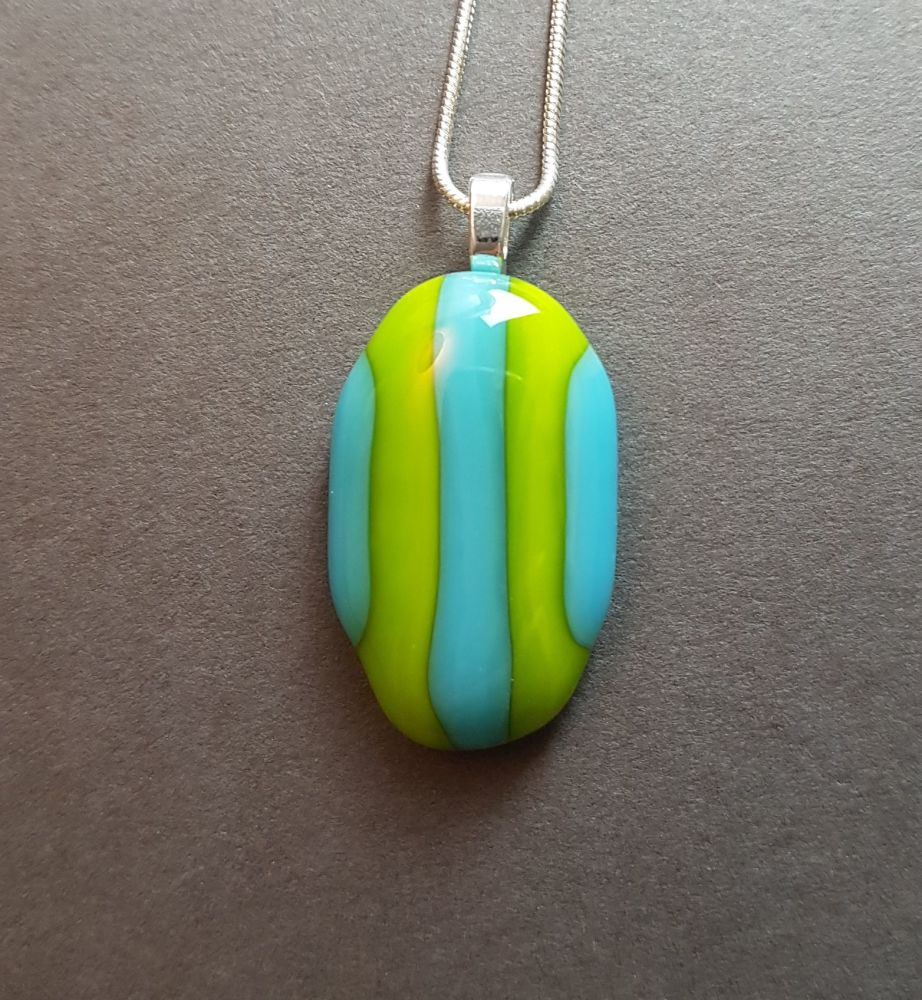 Turquoise and lime pebble pendant