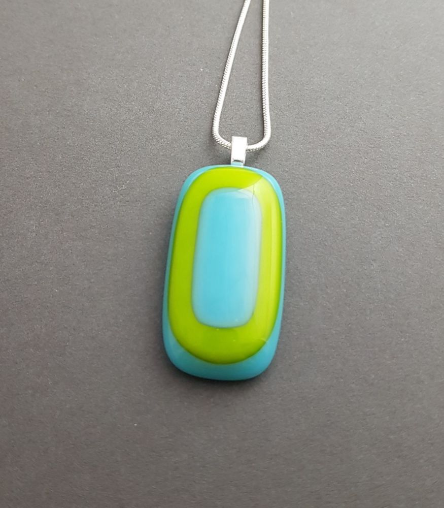 Lime with turquoise art deco pendant