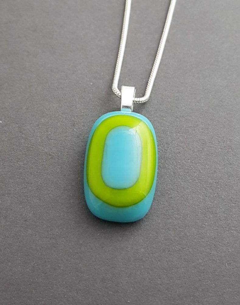 Lime with turquoise art deco small pendant