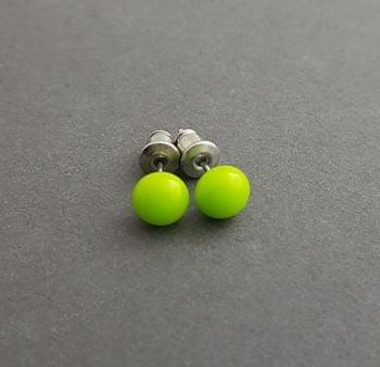 Small lime green glass stud earrings