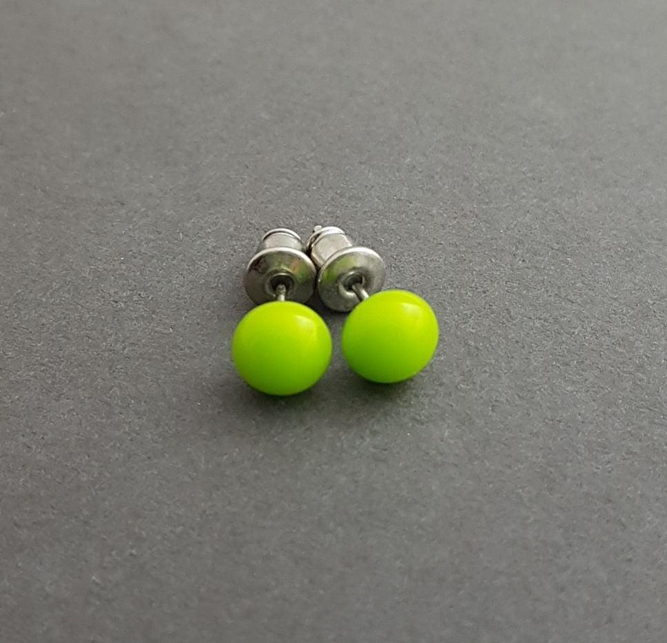 Tiny lime green stud earrings