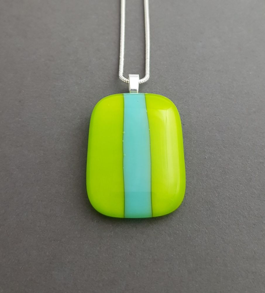 Lime with turquoise stripe