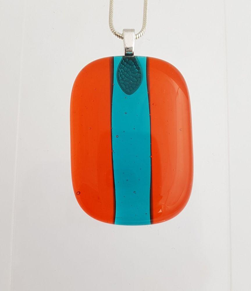 Dark orange glass with peacock stripe