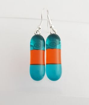 Peacock blue and dark orange long drop earrings