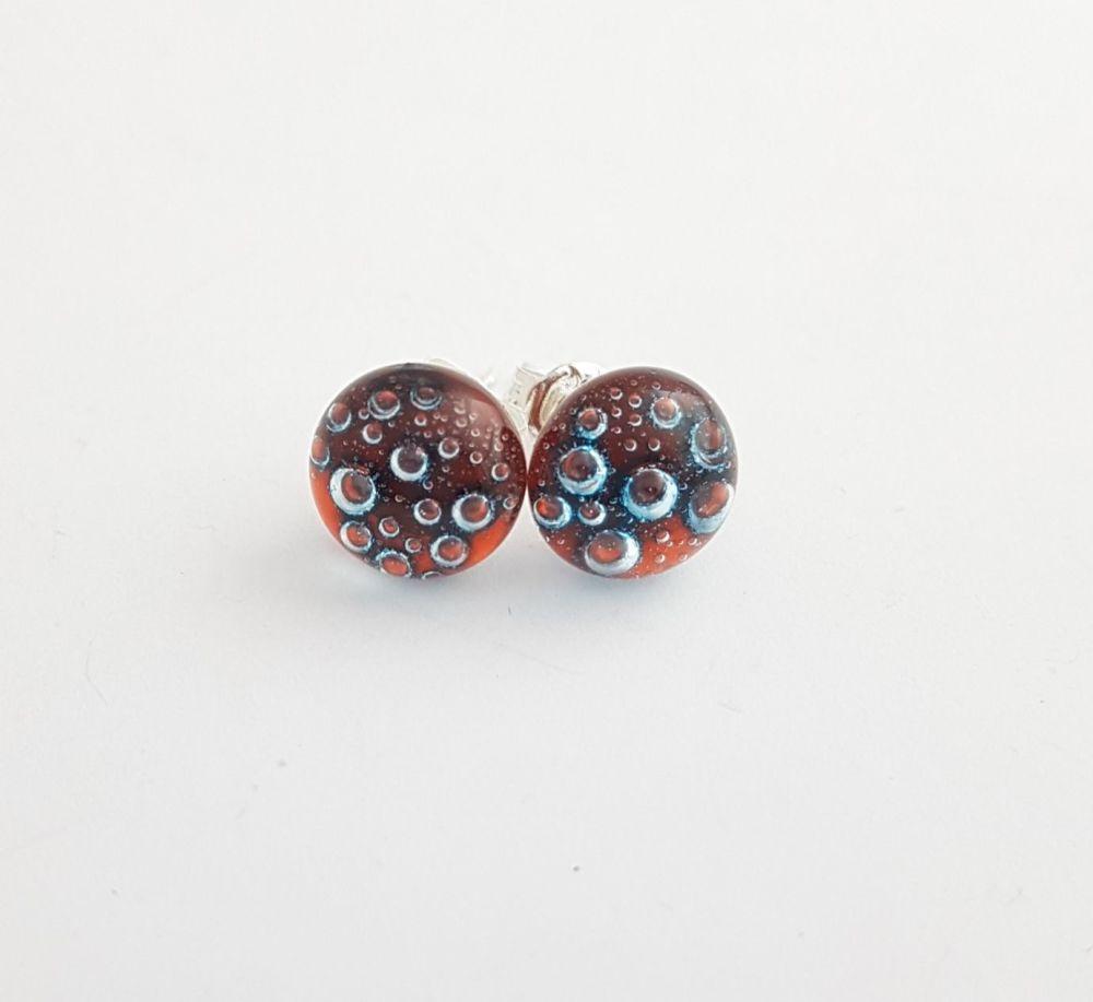 Bubbles - Dark orange bubbles stud earrings