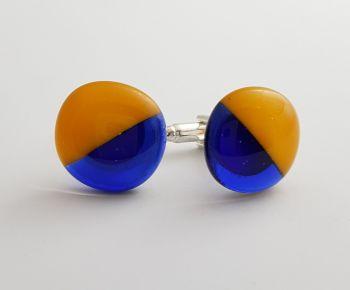 Royal blue and gold semaphore cufflinks