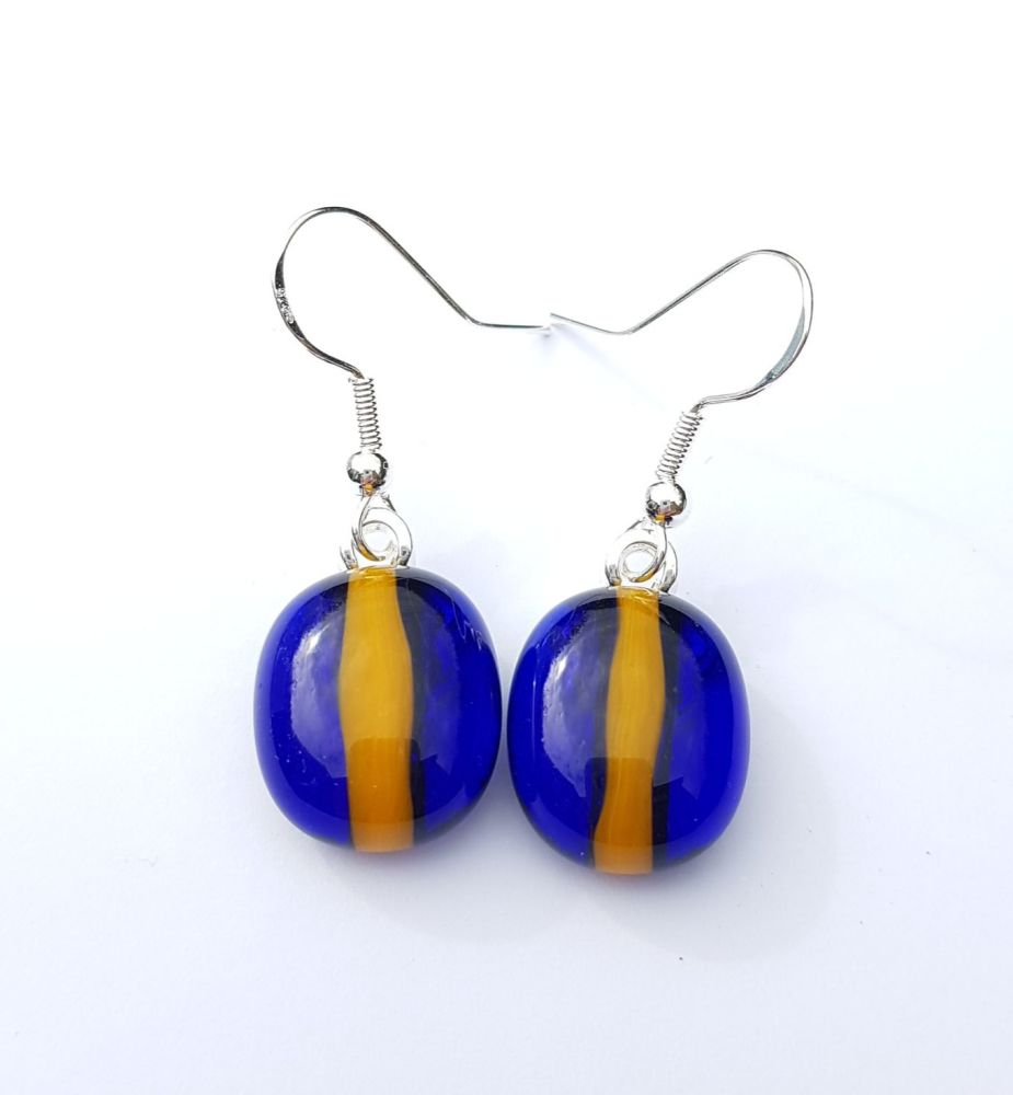 Blue and gold Worcester Warriors earrings