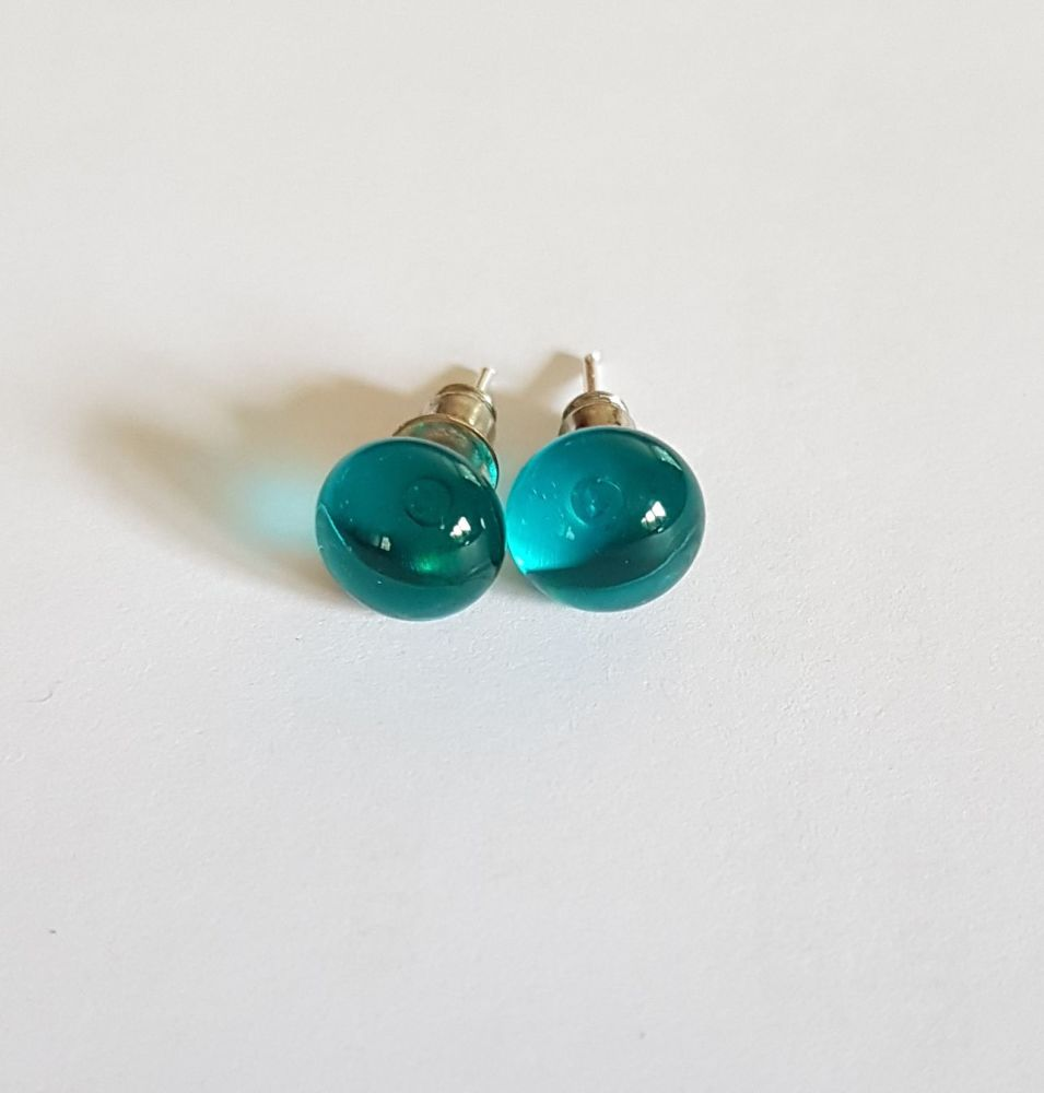 Peacock blue transparent glass stud earrings