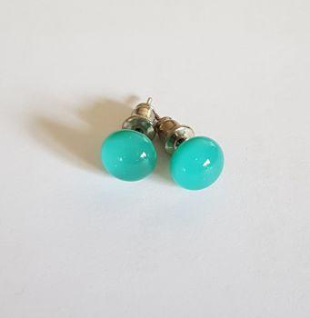 Teal blue opaque glass stud earrings