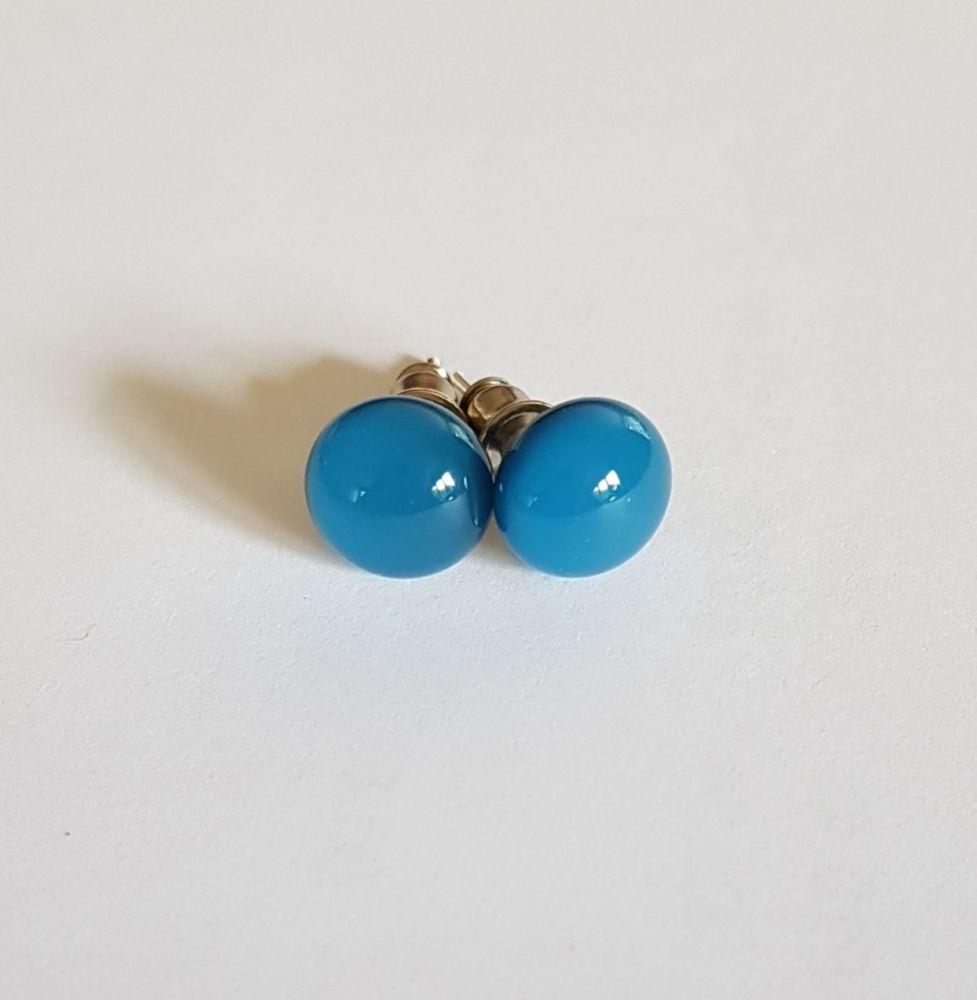 Denim blue opaque glass stud earrings