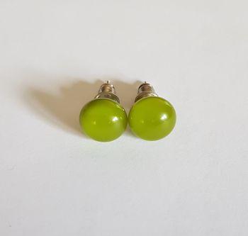 Avocado green opaque glass stud earrings