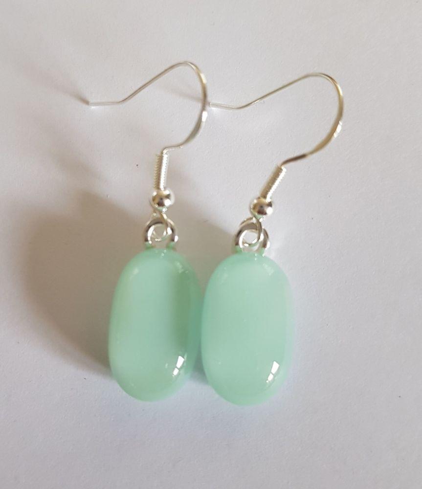 Duck egg pastel blue opaque glass drop earrings
