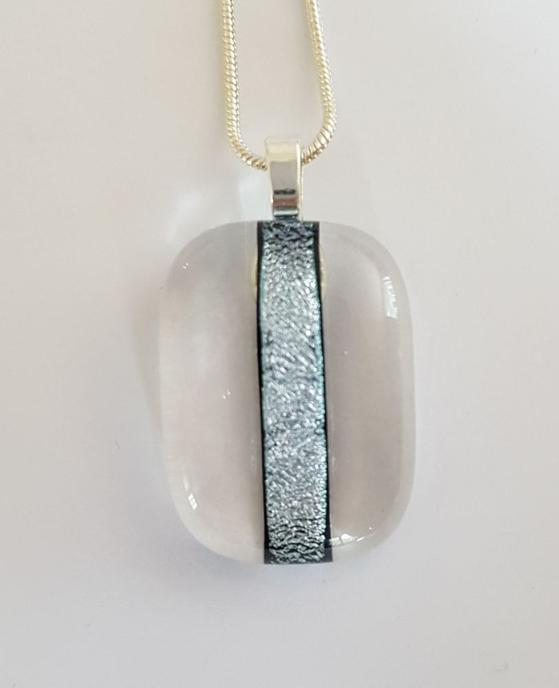 Dichroic stripe - clear glass with silver sparkly stripe