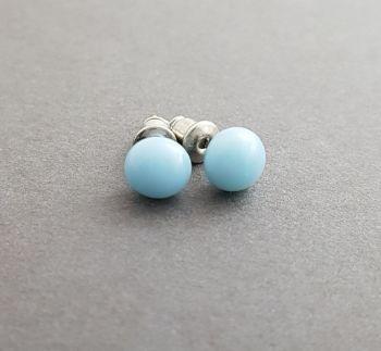 Duck egg blue opaque glass stud earrings