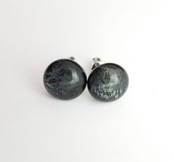 Iridescent black with silvery shimmer stud earrings