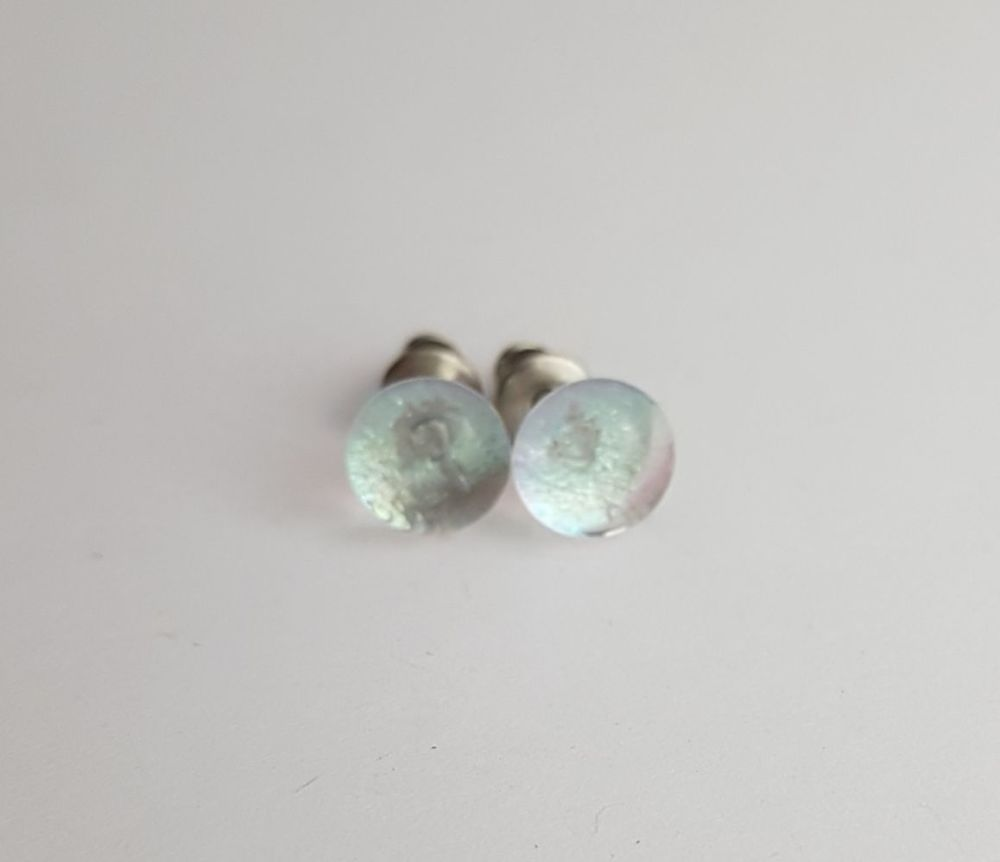 Clear iridescent glass stud earrings