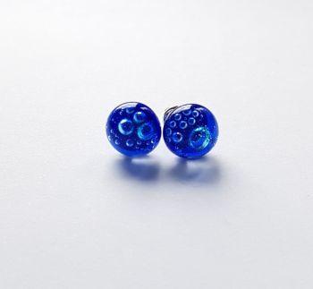 Bubbles - Cobalt blue bubbles stud earrings