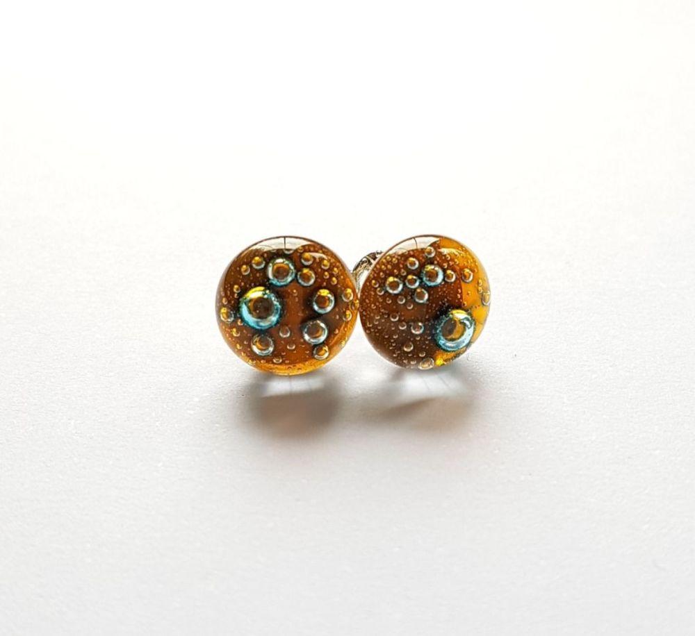 Bubbles - Amber yellow bubbles stud earrings