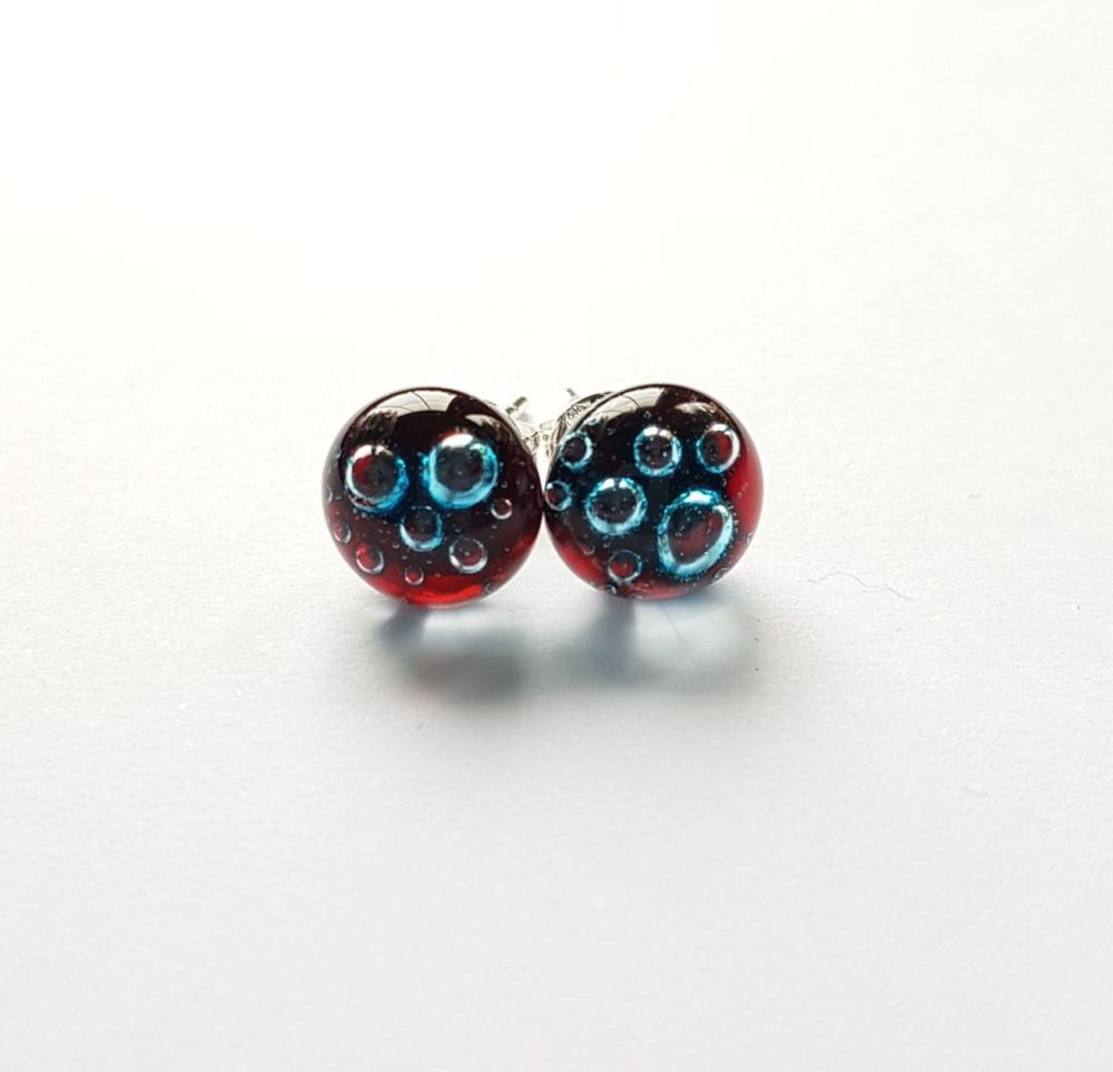 Bubbles - Garnet red bubbles stud earrings