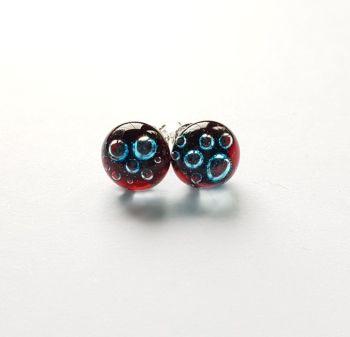 Bubbles - Garnet red bubbles stud earrings