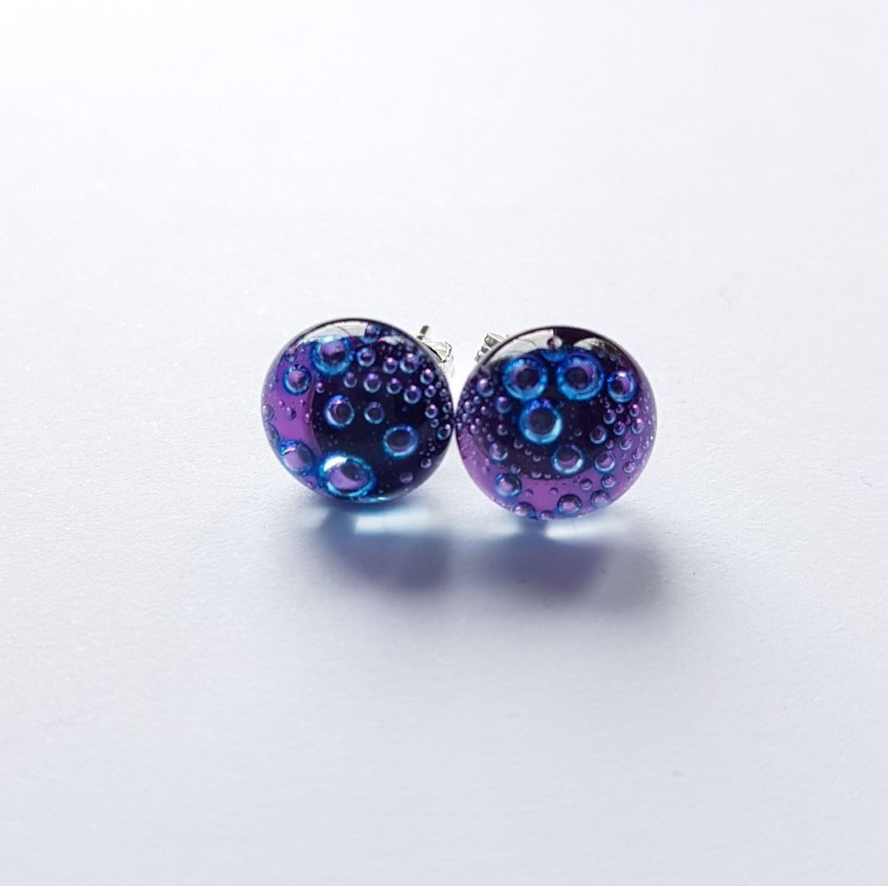 Bubbles - Purple bubbles stud earrings