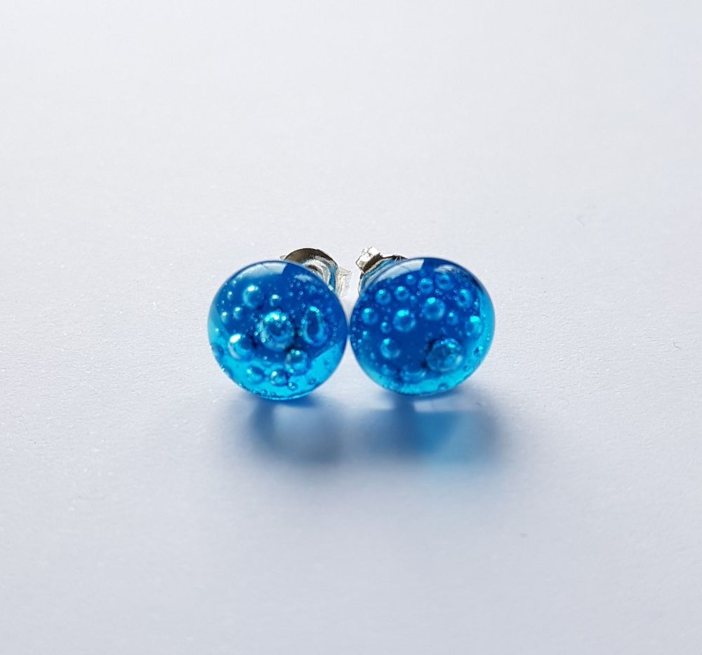 Bubbles - Turquoise blue bubbles stud earrings
