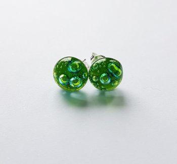 Bubbles - Lime green bubbles stud earrings