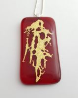 Mica - large red with gold mica sculpture pendant