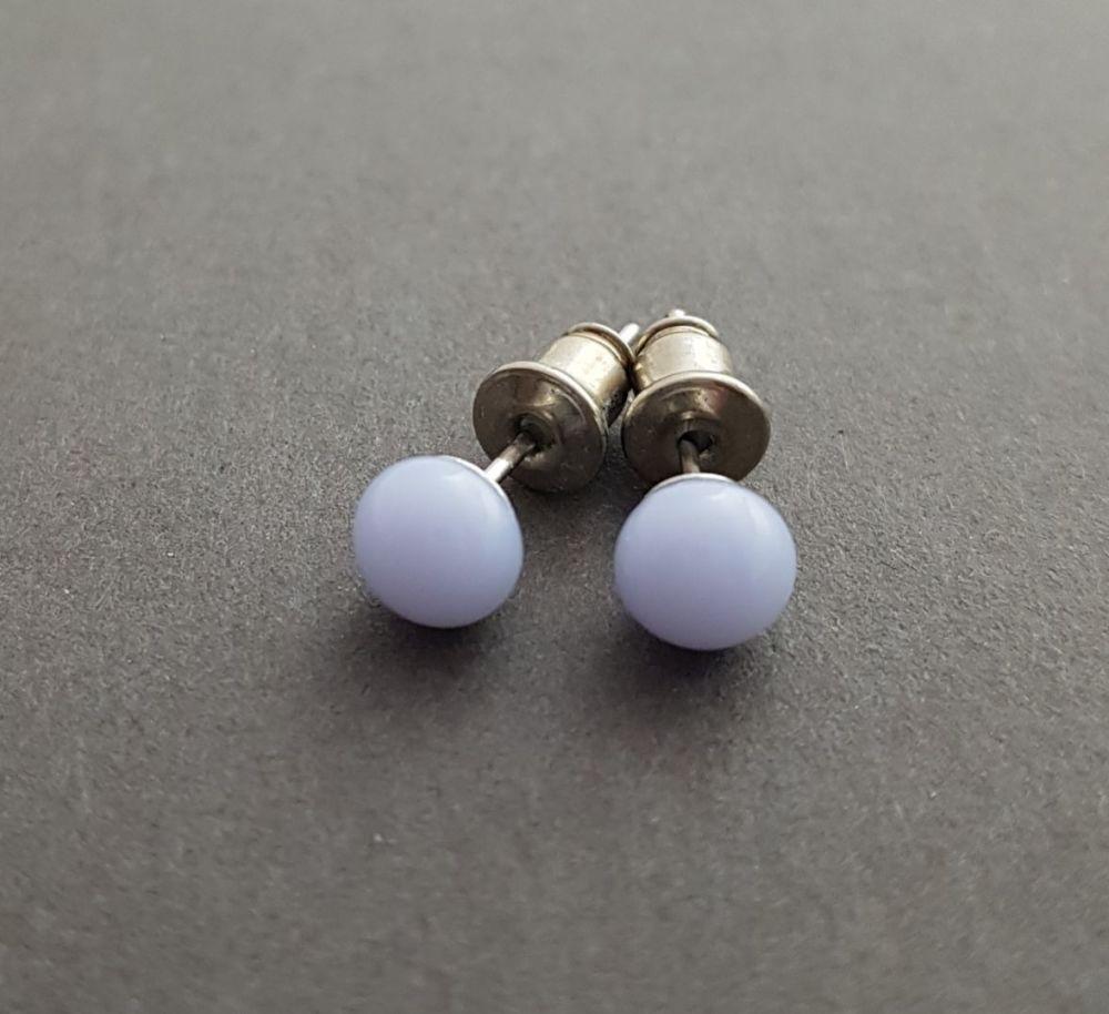 Mauve opaque glass tiny stud earrings