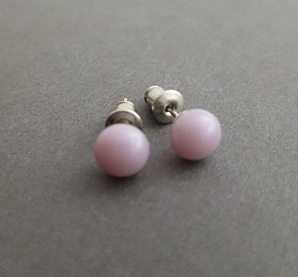 Dusky pink opaque glass tiny stud earrings