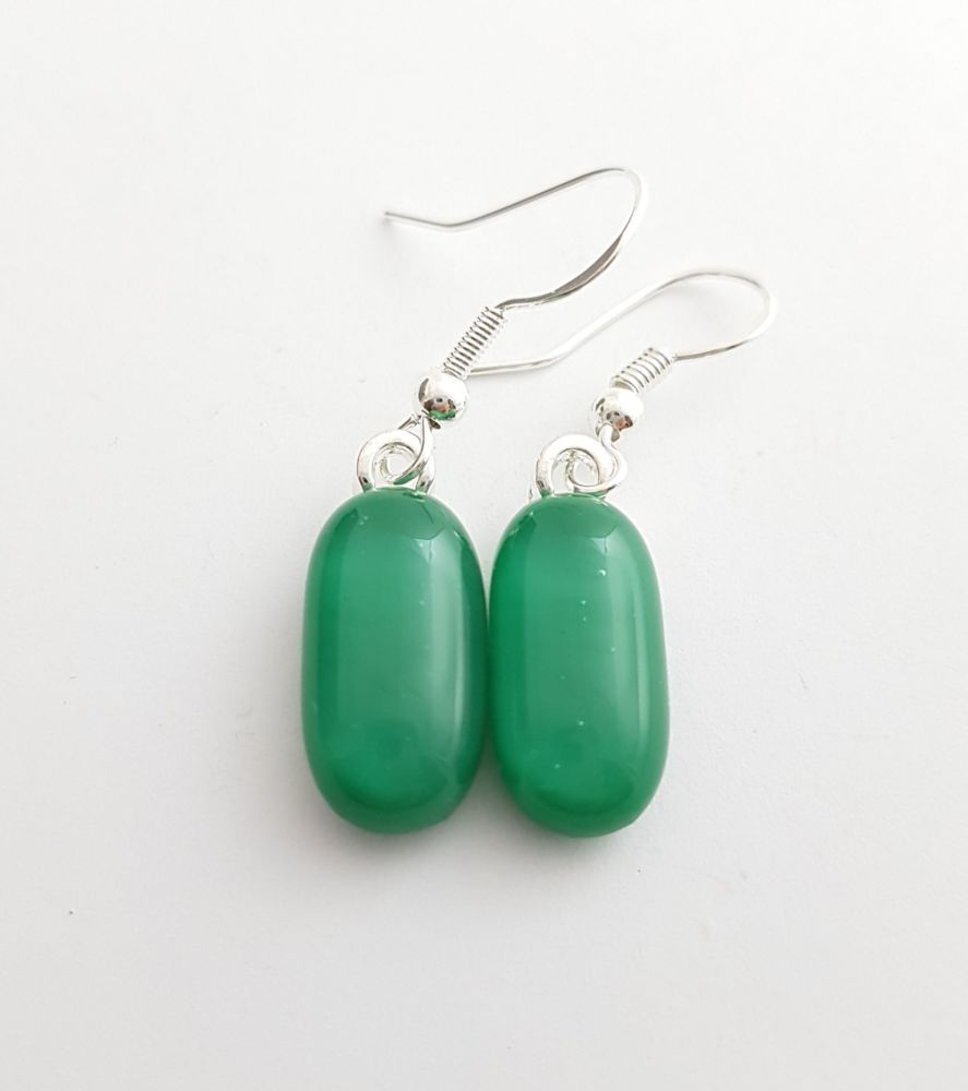 Jade green opaque glass drop earrings
