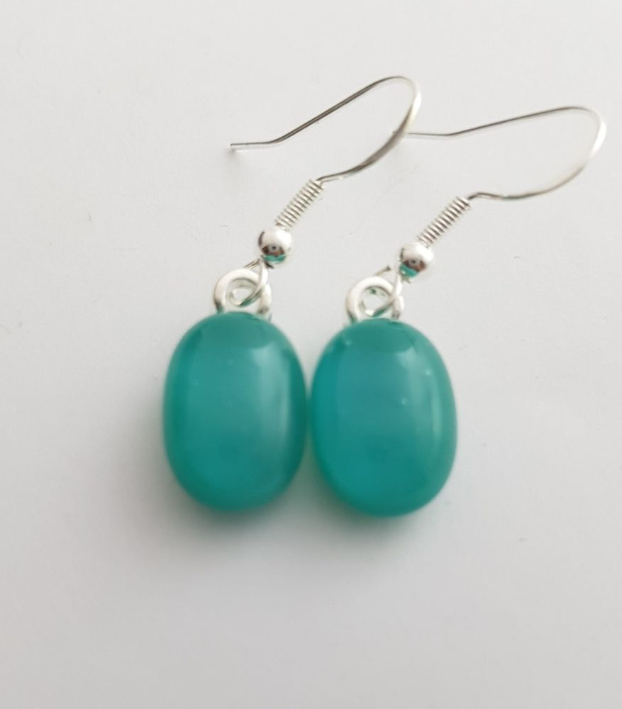 Teal blue opaque glass drop earrings
