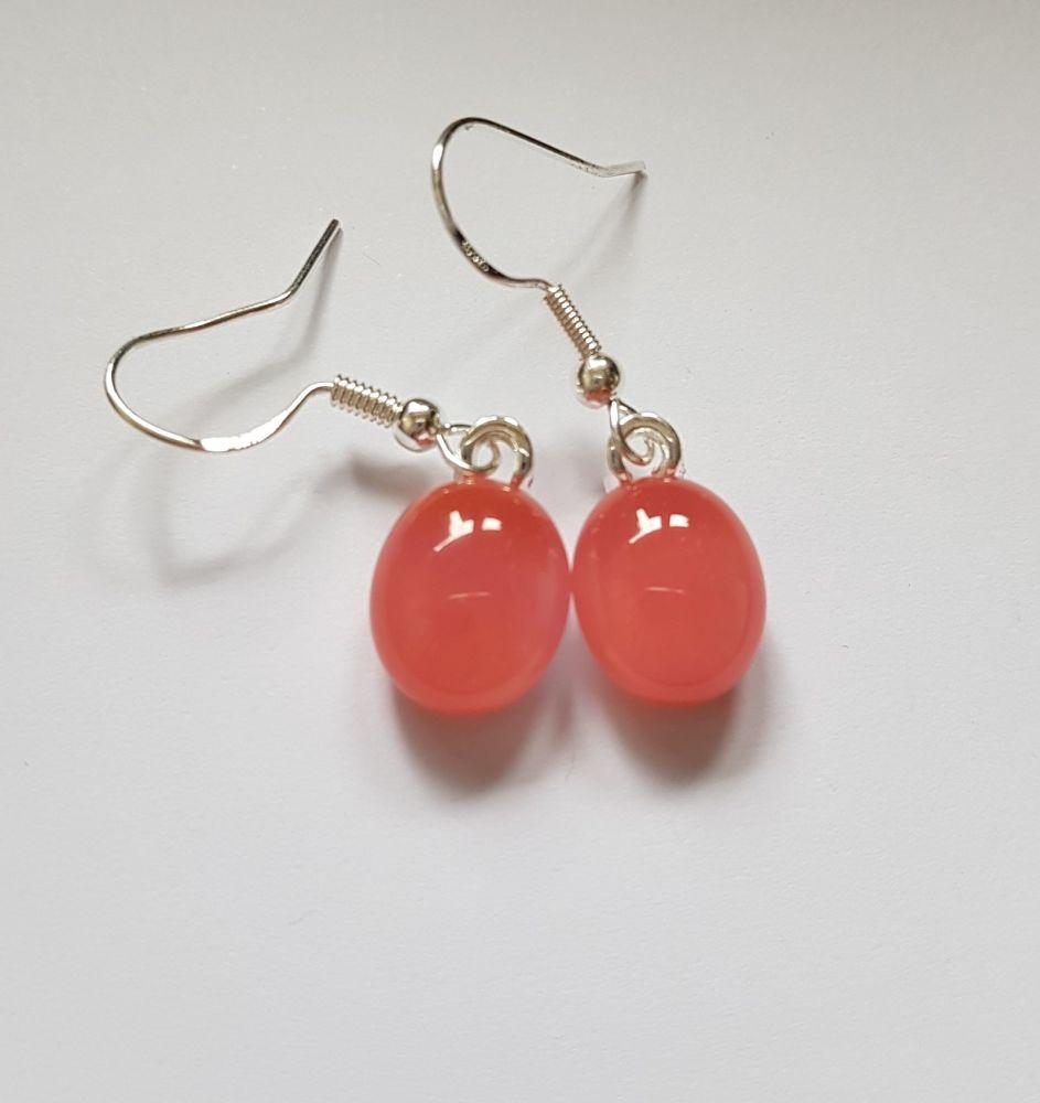 Raspberry pink opaque glass drop earrings