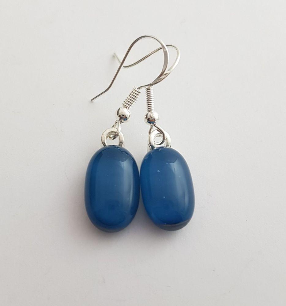 Teal blue opaque glass drop earrings