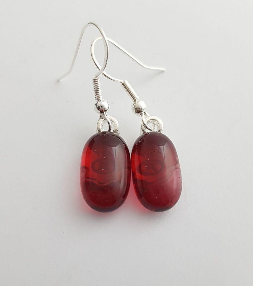 Cherry pink transparent glass drop earrings