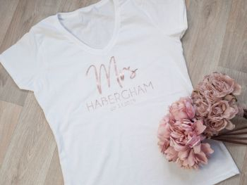 "PERSONALISED V-NECK TSHIRT ""MRS NAME EST. DATE"""