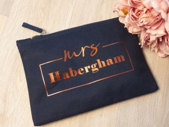 "PERSONALISED CANVAS ""MRS"" COSMETICS CASE"