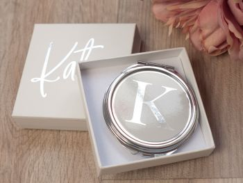 PERSONALISED COMPACT MIRROR - SILVER