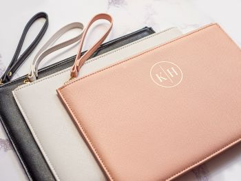 PERSONALISED SAFFIANO ACCESSORY POUCH - MONOGRAM