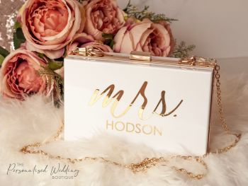 "PERSONALISED ""MRS"" HARD BOX CLUTCH BAG - WHITE"